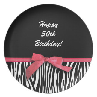 Zebra stripes and red ribbon graphic plate