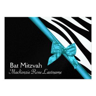 Zebra Stripes and Ribbon Bat Mitzvah Invite
