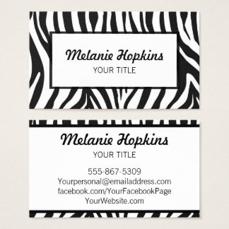 Zebra Stripes Bold Black and White Business Card