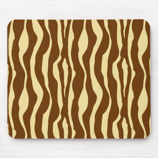 Zebra stripes - Chocolate Brown and Camel Tan Mouse Mat