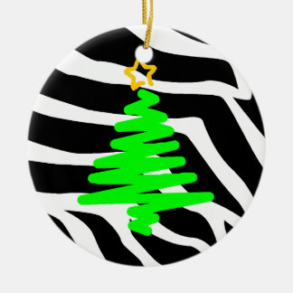 Zebra Stripes Christmas Postage Tree Green Round Ceramic Decoration