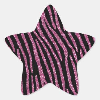 Zebra Stripes Fuchsia Pink Glitter Like Star Sticker