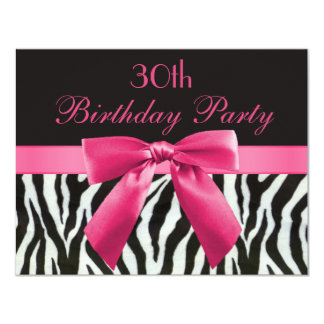 Zebra Stripes & Hot Pink Printed Bow 30th Birthday Card