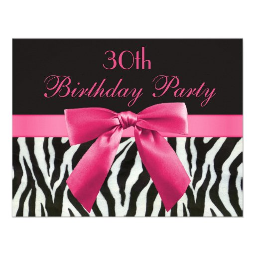Zebra Stripes & Hot Pink Printed Bow 30th Birthday Custom Announcements