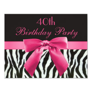 Zebra Stripes & Hot Pink Printed Bow 40th Birthday Card