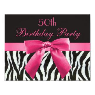 Zebra Stripes & Hot Pink Printed Bow 50th Birthday Card