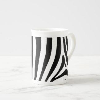 Zebra stripes in black and white pattern design bone china mug