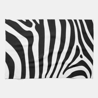 Zebra stripes in black and white pattern design tea towel
