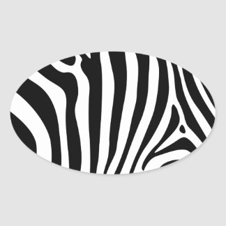 Zebra stripes in black and white pattern oval stickers