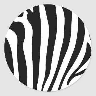 Zebra stripes in black and white pattern classic round sticker