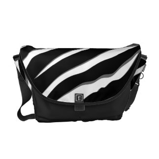 Zebra Stripes in Black & White with Gray Accents Messenger Bag