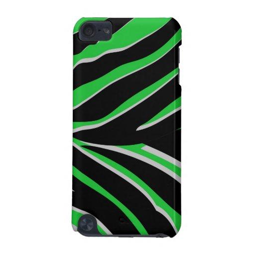 Zebra Stripes in Green & Black iPod Touch 5G Cases