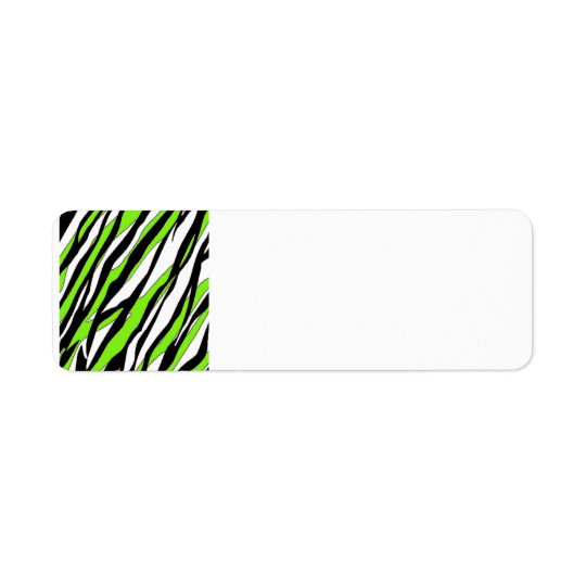 Zebra Stripes Lime Green Return Address Label