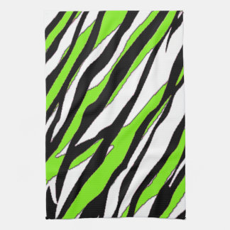 Zebra Stripes Lime Green Tea Towel