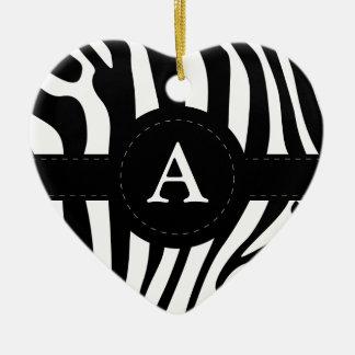 Zebra stripes monogram initial A custom Ceramic Heart Decoration