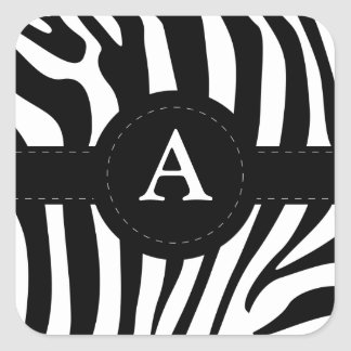Zebra stripes monogram initial A custom Square Sticker