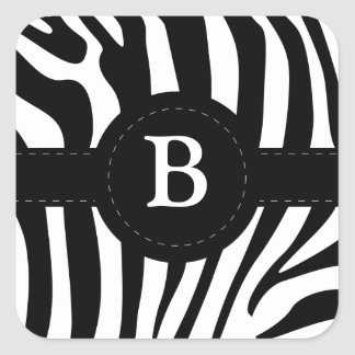 Zebra stripes monogram initial B custom Square Sticker