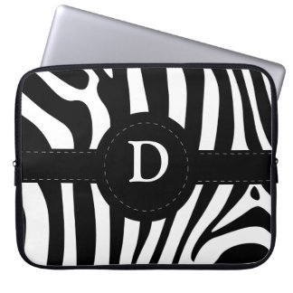 Zebra stripes monogram initial D custom Laptop Sleeve