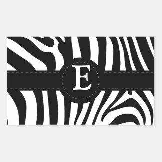 Zebra stripes monogram initial E custom Rectangular Sticker