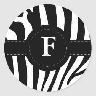 Zebra stripes monogram initial F custom Round Sticker