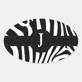 Zebra stripes monogram initial J custom Oval Sticker