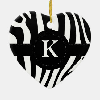 Zebra stripes monogram initial K custom Christmas Ornament