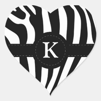 Zebra stripes monogram initial K custom Heart Sticker