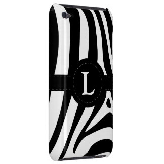 Zebra stripes monogram initial L custom, gift iPod Touch Case-Mate Case