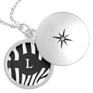 Zebra stripes monogram initial L custom Locket Necklace