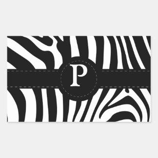 Zebra stripes monogram initial P custom Rectangular Sticker