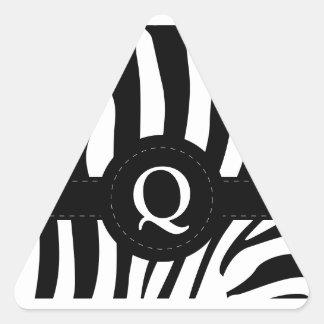 Zebra stripes monogram initial Q custom Triangle Sticker
