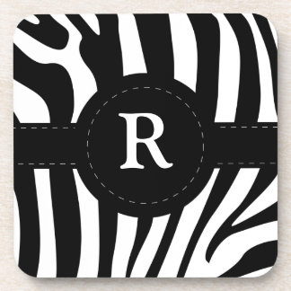 Zebra stripes monogram initial R custom Drink Coasters