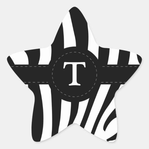 Zebra stripes monogram initial T custom Star Stickers