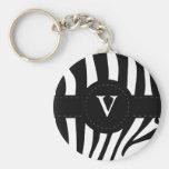 Zebra stripes monogram initial V custom Basic Round Button Key Ring
