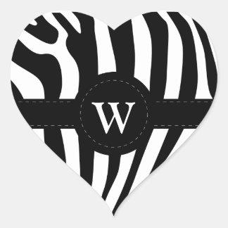 Zebra stripes monogram initial W custom Heart Sticker