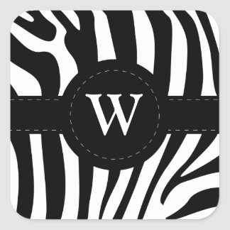 Zebra stripes monogram initial W custom Square Sticker
