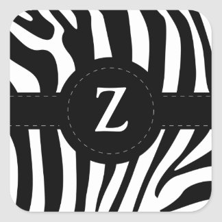 Zebra stripes monogram initial Z custom Square Sticker