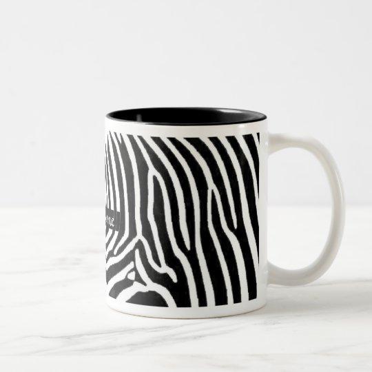 Zebra Stripes Personalised with Name Two-Tone Coffee Mug