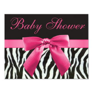 Zebra Stripes & Pink Printed Bow Baby Shower 11 Cm X 14 Cm Invitation Card