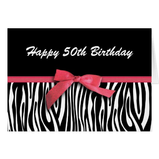 Zebra stripes red ribbon-look happy 50th birthday greeting cards