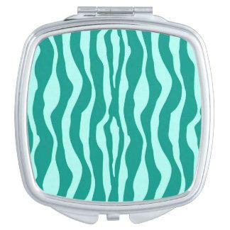 Zebra stripes - Turquoise and Aqua Makeup Mirror
