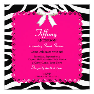 Zebra Stripes with Hot Pink Lace Sweet 16 Birthday Custom Invitation