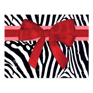 Zebra Stripes with Red Ribbon and bow Pattern Post Card