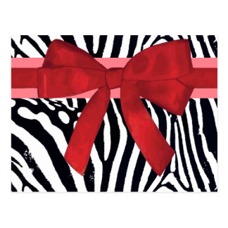 Zebra Stripes with Red Ribbon and bow Pattern Postcards