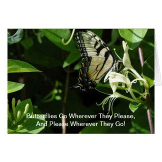 Zebra Swallowtail On Honeysuckle Card