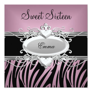 Zebra Sweet Sixteen 16 Party Silver Pink Black 13 Cm X 13 Cm Square Invitation Card