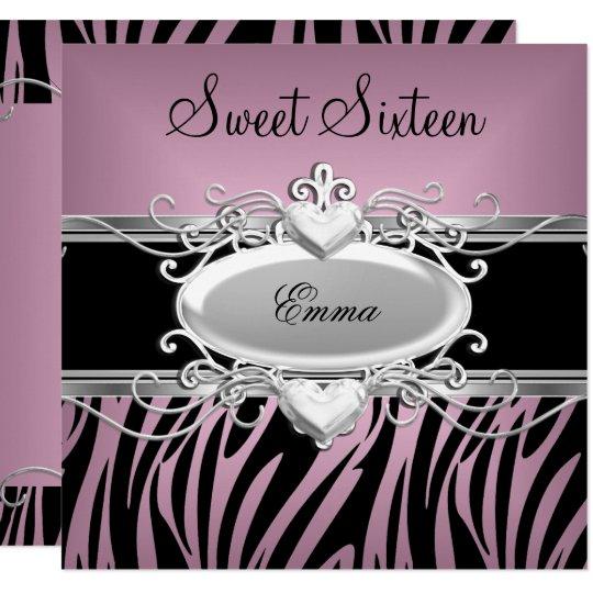 Zebra Sweet Sixteen 16 Party Silver Pink Black Card