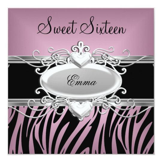 Zebra Sweet Sixteen 16 Party Silver Pink Black Card
