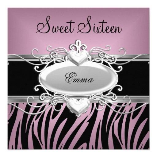 Zebra Sweet Sixteen 16 Party Silver Pink Black Invites