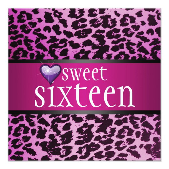 Zebra Sweet Sixteen Invitation